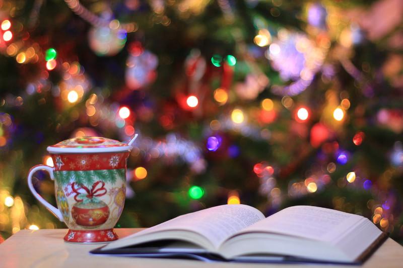 Libro abierto con luces de Navidad