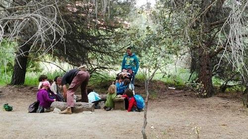 Niños en un claro del bosque
